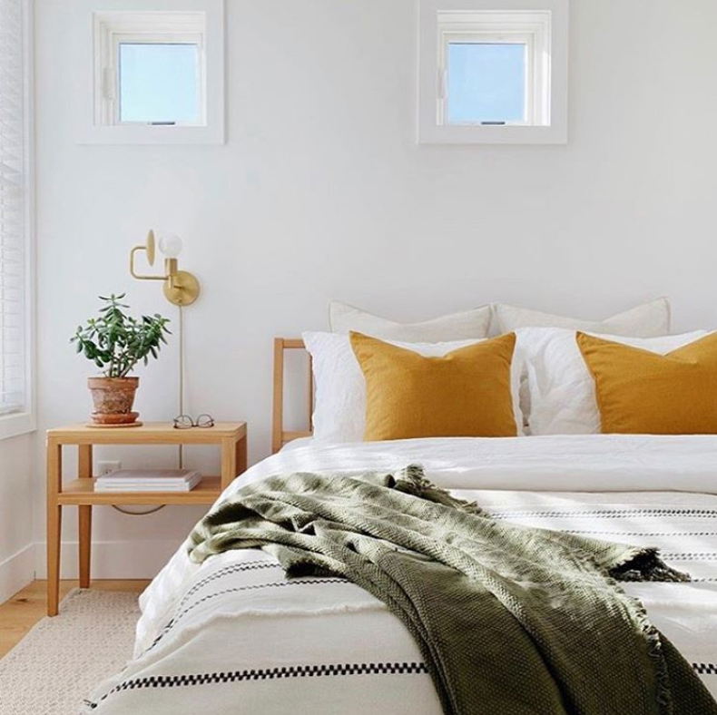 Mustard and olive green bedroom decor