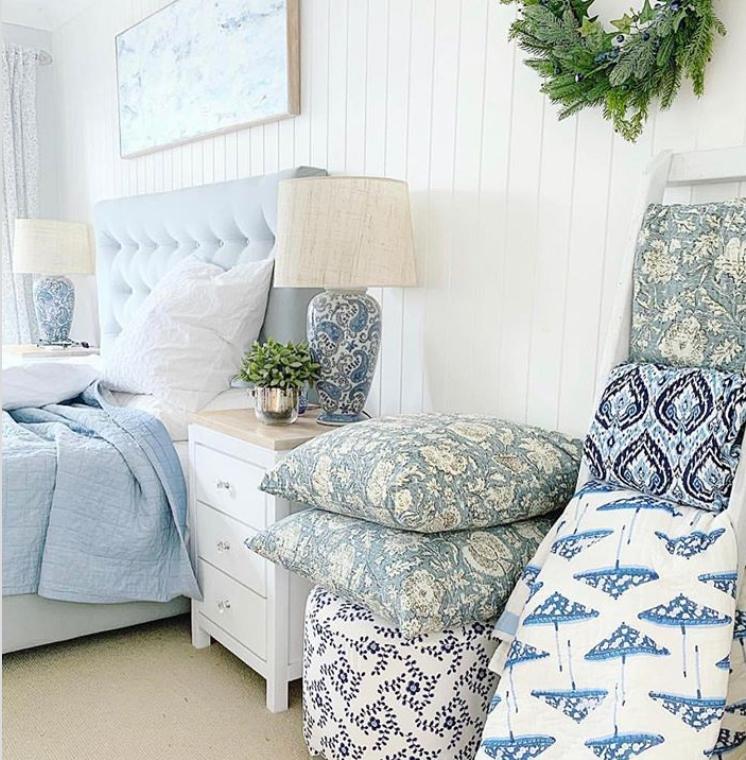 Hamptons style bedroom pale blue