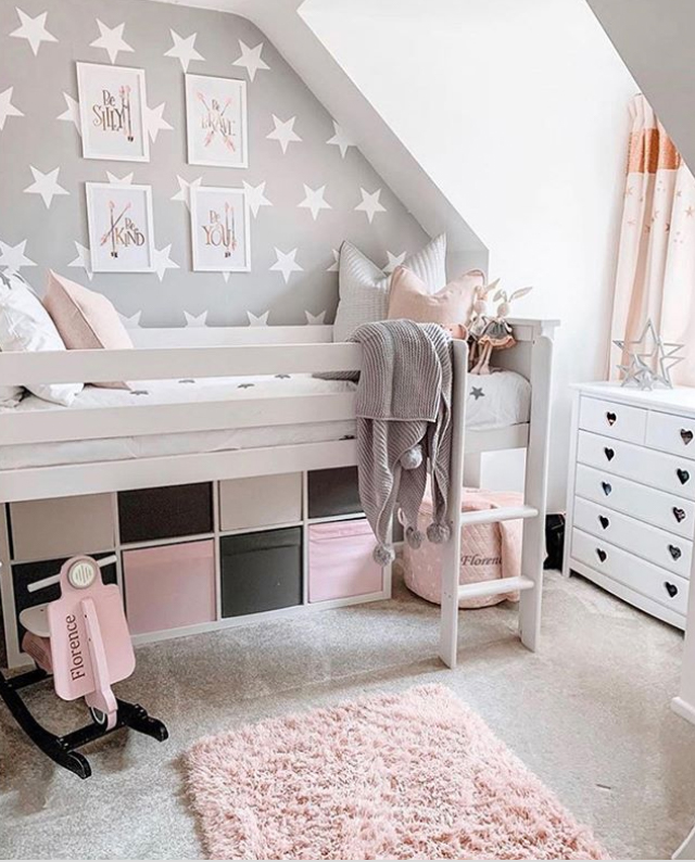 Grey pink and white girls bedroom