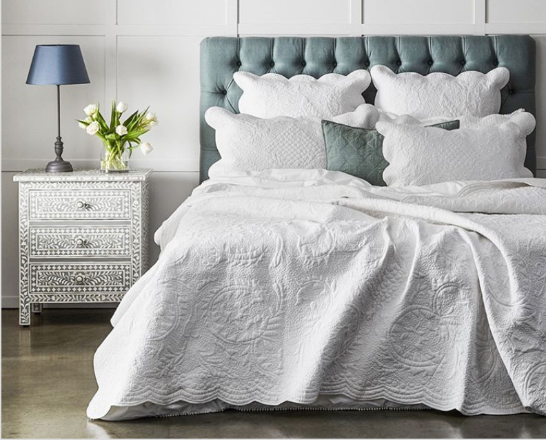 patterns and textures in hamptons style bedroom