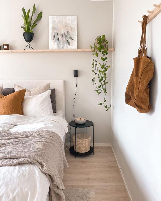 Plants on a floating shelf in bedroom