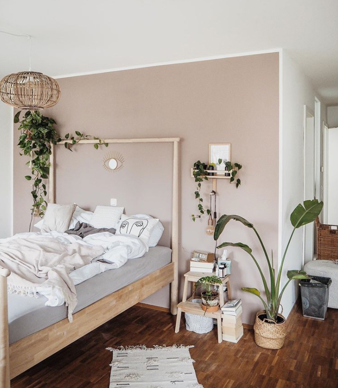 Feature wall in a bedroom