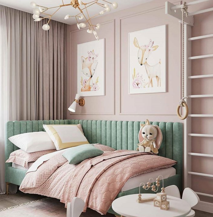 Green and pink girls bedroom