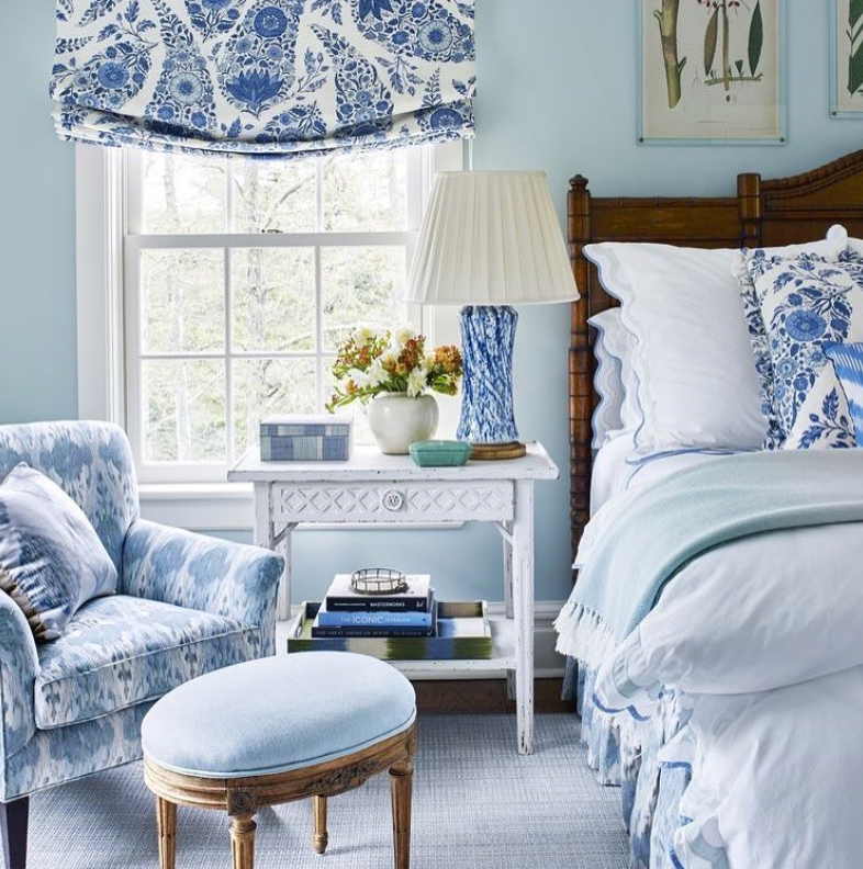 Very blue bedroom