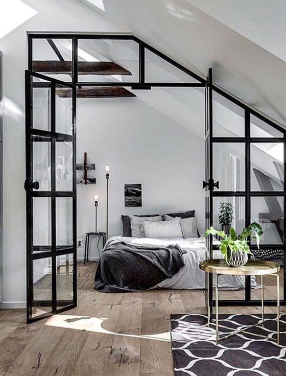 black and white scandi bedroom