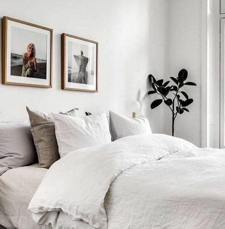 Stone and grey linen bedding