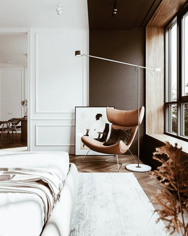 Tan bedroom with a mid-century style