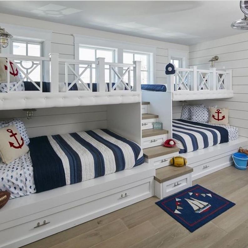 Nautical hamptons kids bedroom