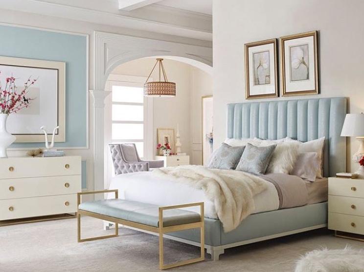Pale blue Hamptons style bedroom