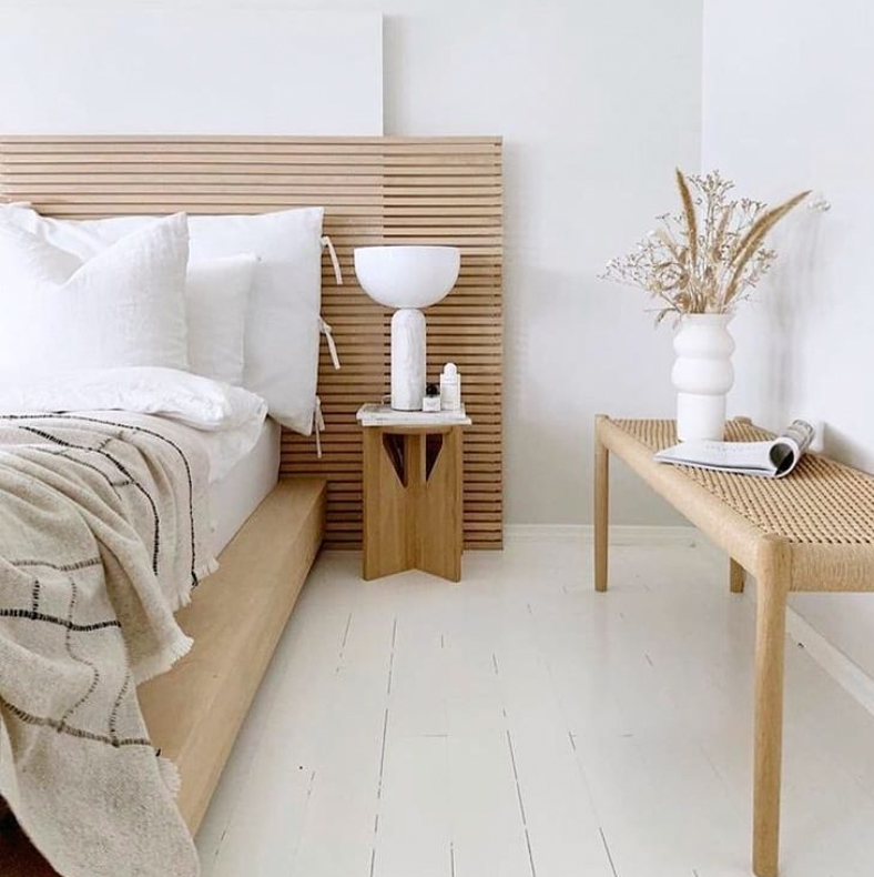 White and timber bedroom