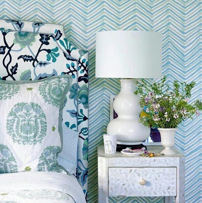 patterned hamptons bedroom ideas