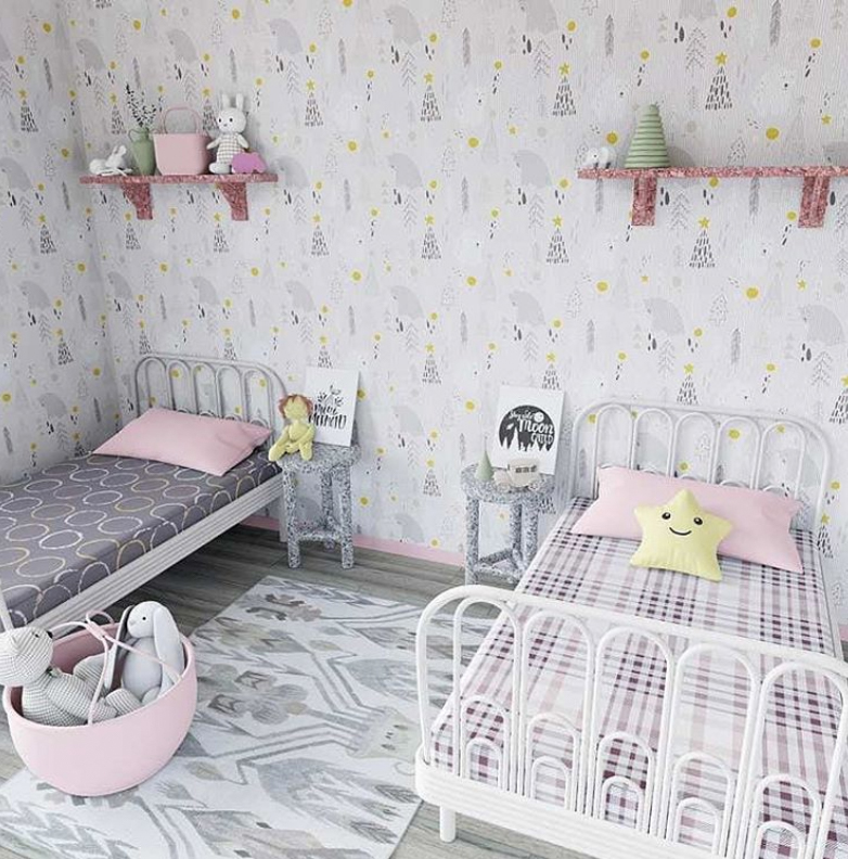 Twin girl bedroom with two beds