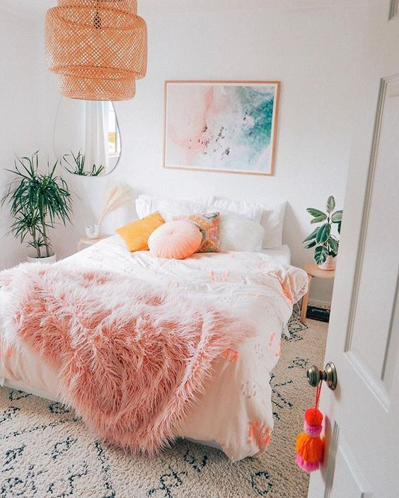apricot and white pastel bedroom