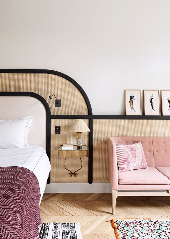 black and cane and blush Art Deco bedroom