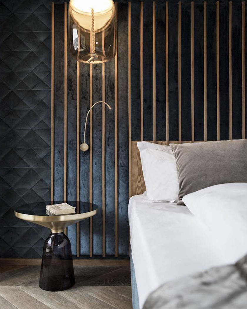 blue velvet Art Deco bedroom