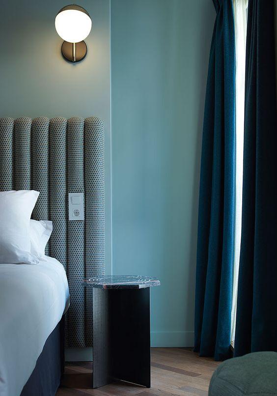 blues in Art Deco bedroom