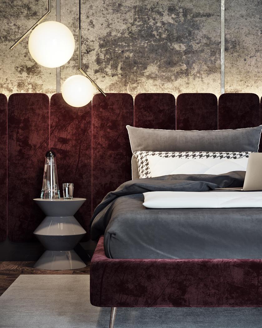 burgundy velvet Art Deco bedroom
