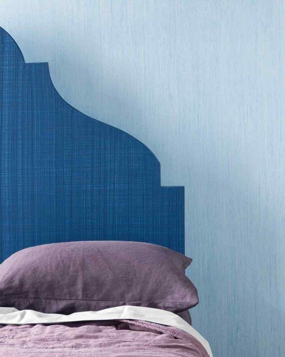 colour blocking blue bedroom