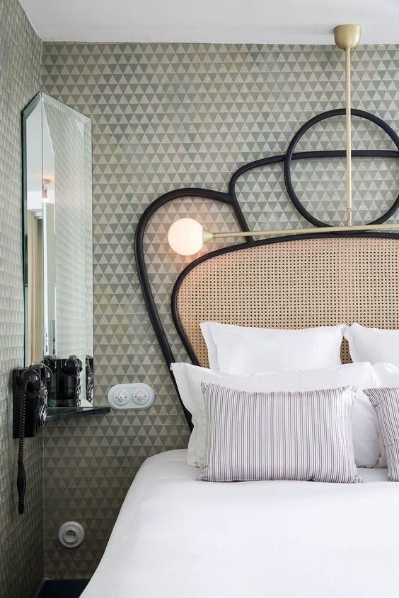 elaborate black and cane bedhead