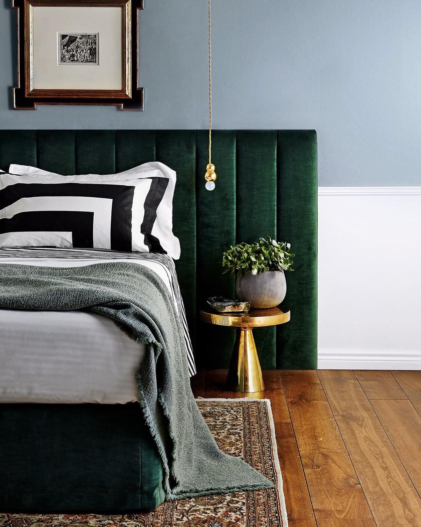 green velvet and brass Art Deco bedroom