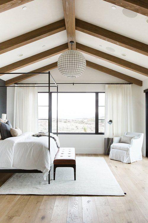 lots of fresh white in modern farmhouse bedroom