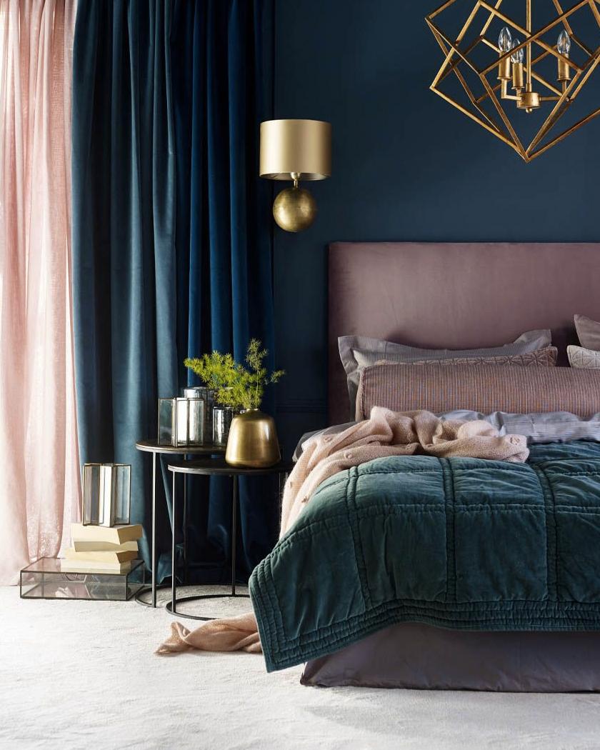 mauve and blue Art Deco bedroom