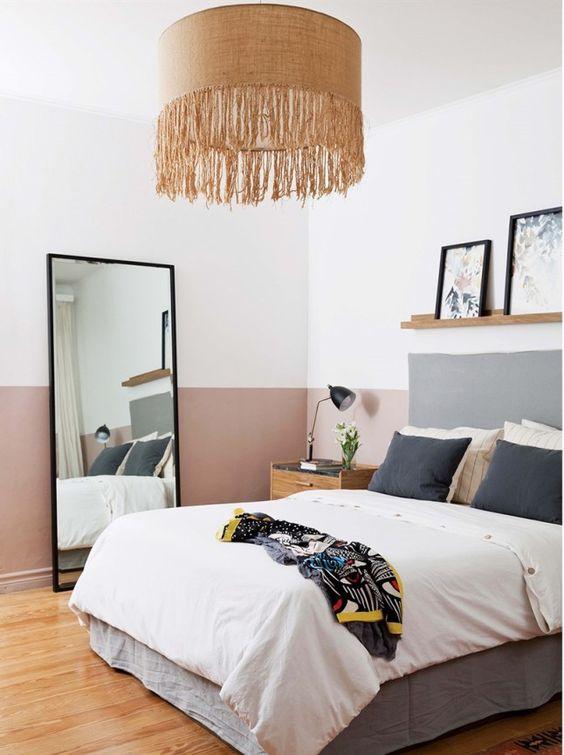 mauve and grey pastel bedroom scheme