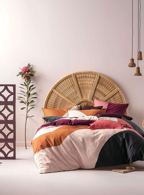 mauve lilac burnt umber tones in pastel bedroom