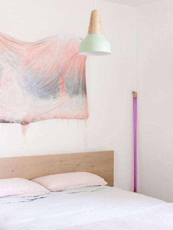 mint lighting in pastel bedroom