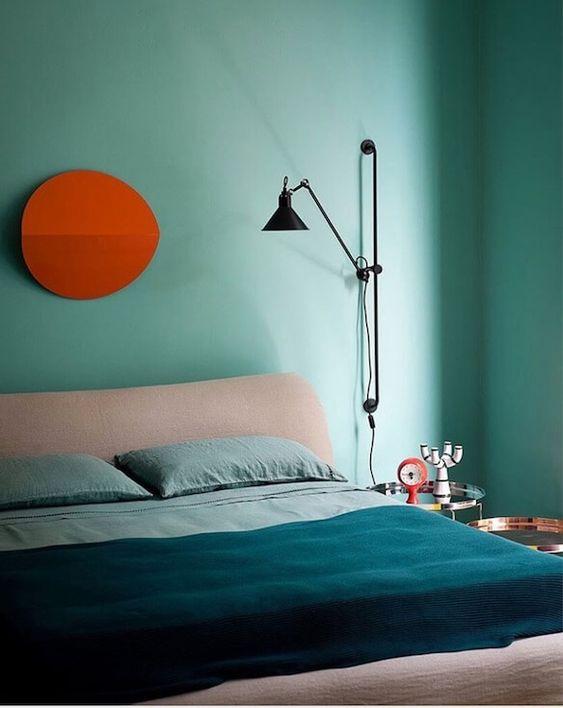 mint toned bedroom