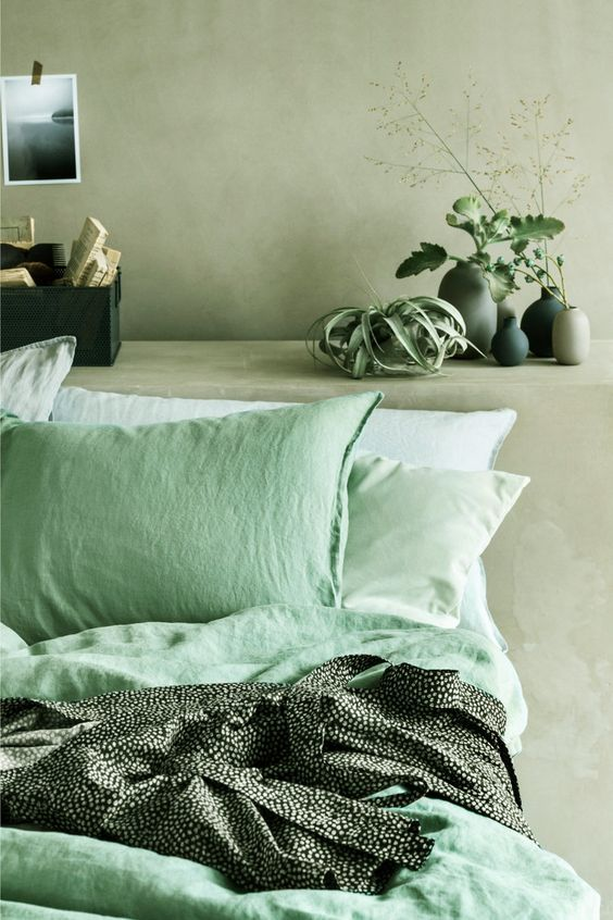 neo mint and sage green bedroom