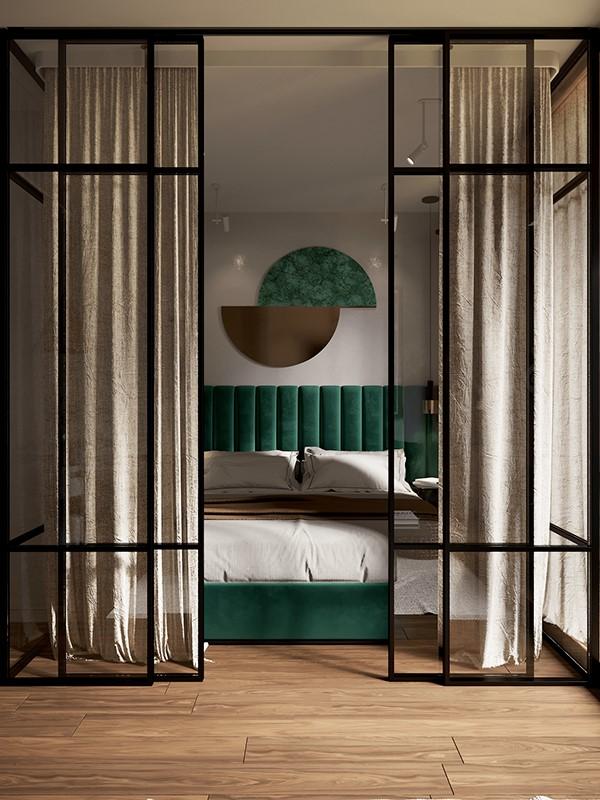 opulent green bedroom
