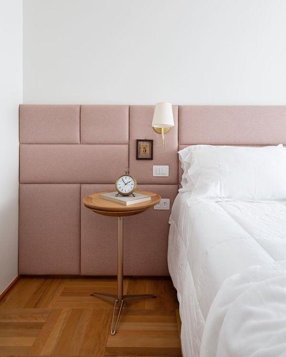 padded pink half wall