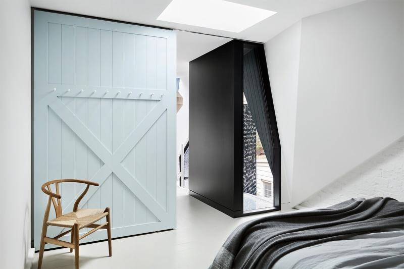 pale blue barn door