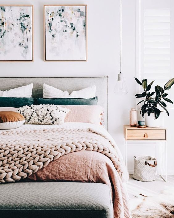 pale sand and teal in pastel bedroom