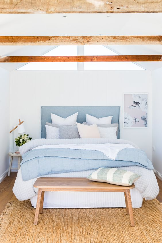 pastel blue and timber