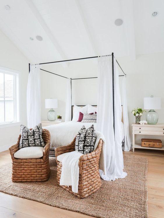 rattan chairs in boho modern famrhouse bedroom