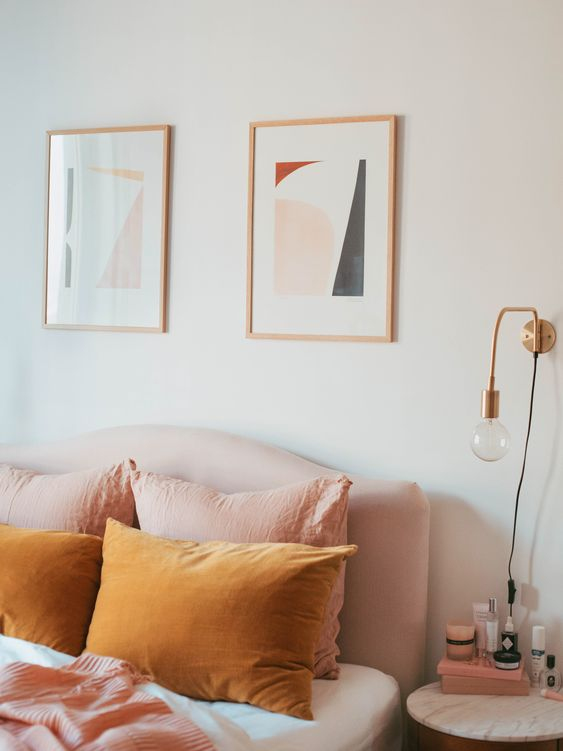 rose gold picture frames and lamp