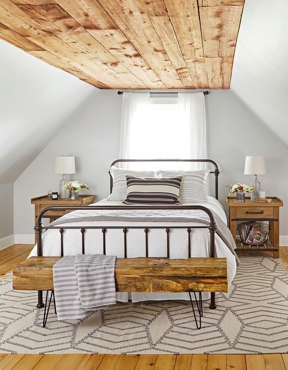 rustic ceiling texture in modern farmhouse bedroom