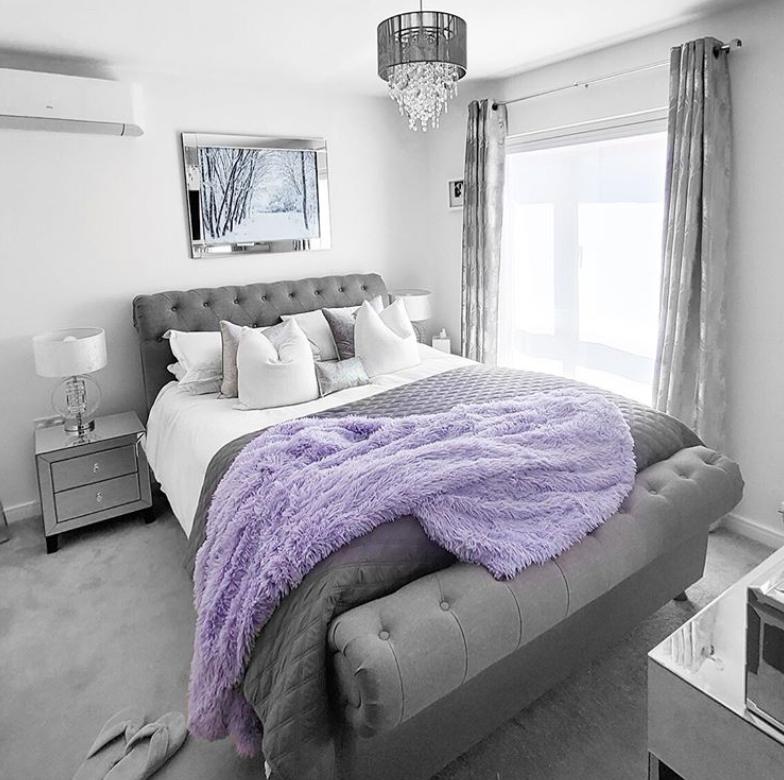 Grey and purple bedroom