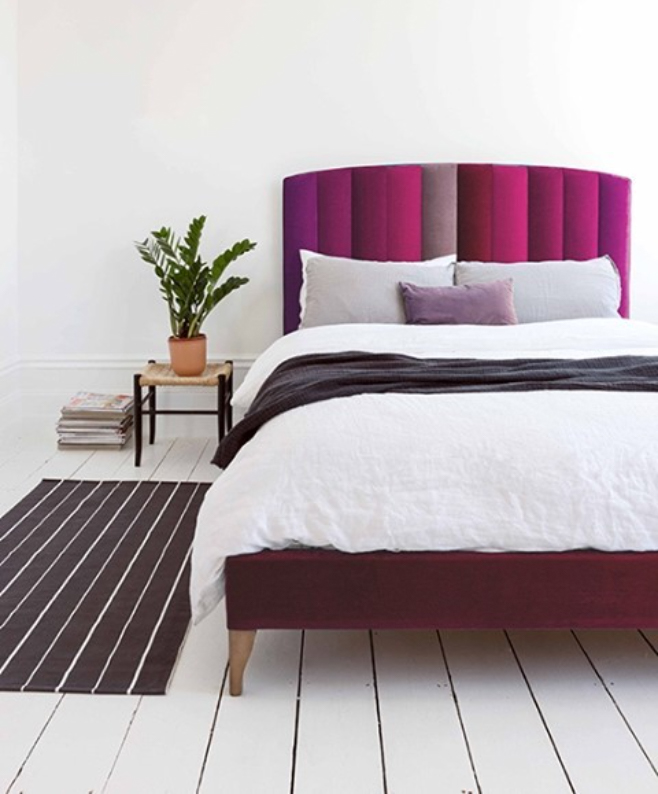 Purple cushioned bed