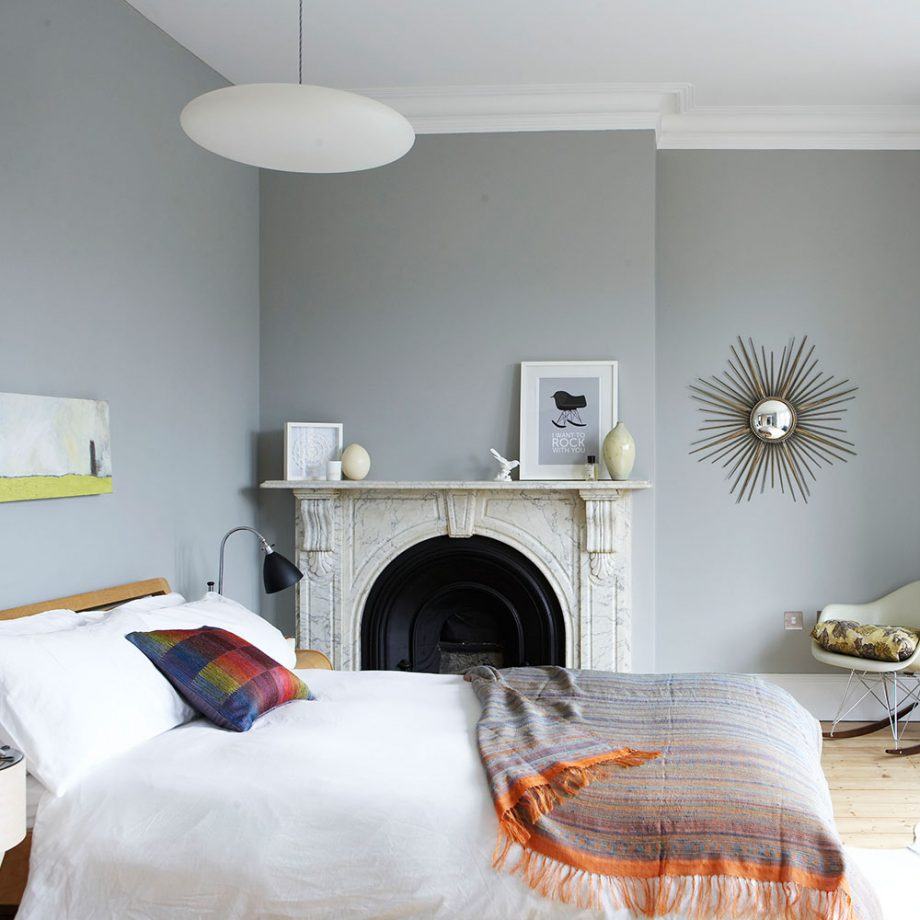 Mid-century modern grey bedroom