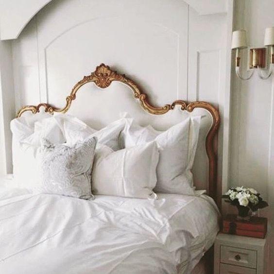 antique bed for a rose gold bedroom