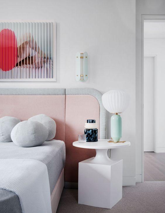 art deco pastel bedroom