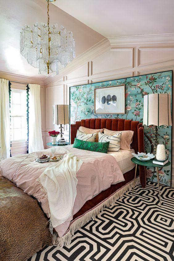 bold opulence in art deco bedroom