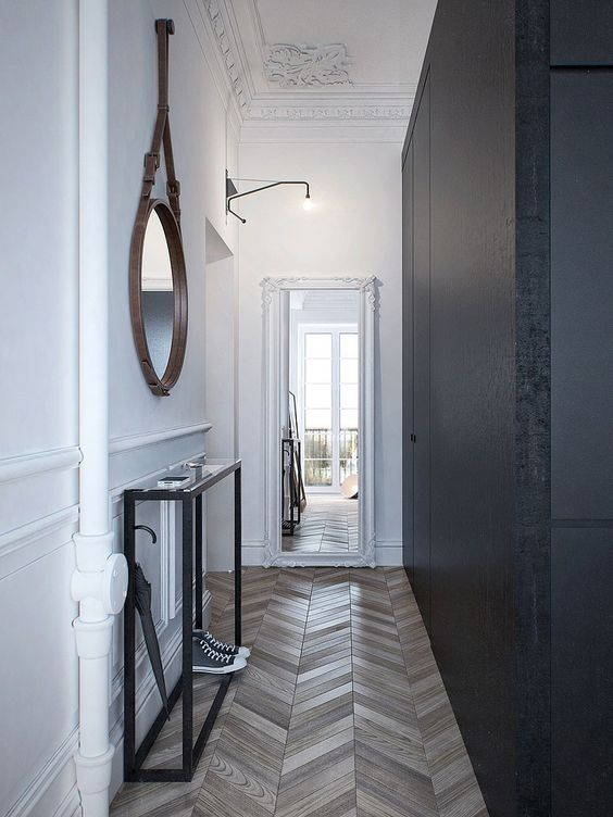 dark grey and white hallway