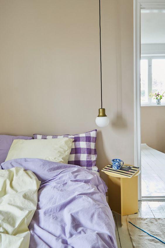 gingham blues in pastel bedroom