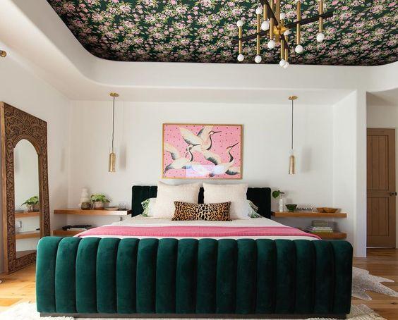 green velvet bed in art deco bedroom