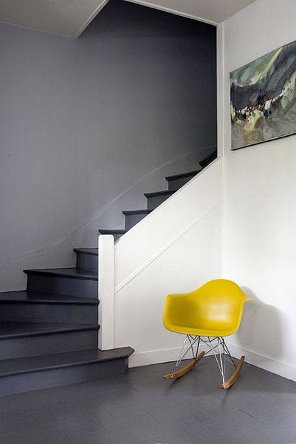 grey and white and pop of yellow