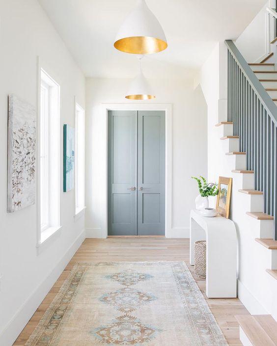 grey bannister and door